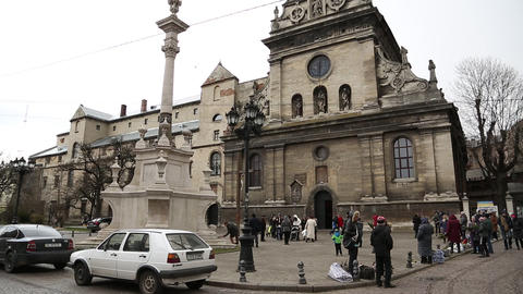 People near the Bernardine church and monastery in Lviv, Western Ukraine Footage