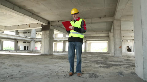 Chief superintendent engineer at construction site Footage
