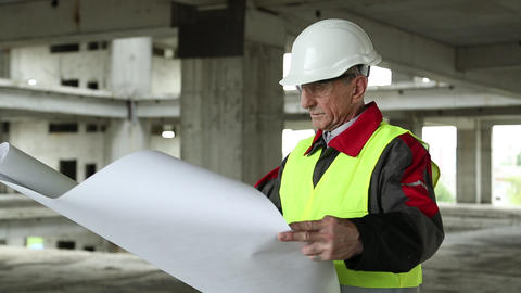 Manager of the works at construction site Footage