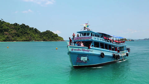 Pleasure boat docks to the shore of the island in Thailand Footage