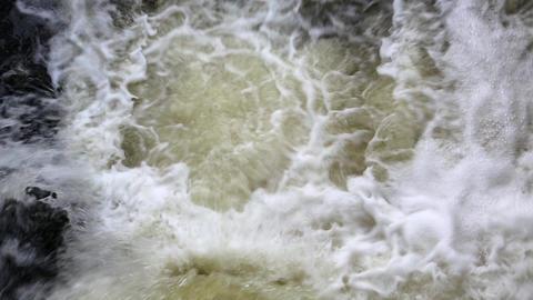 Foamy water of waterfall Footage