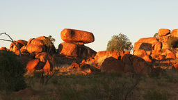 devils marbles/ karlu karlu at sunset zoom in Footage