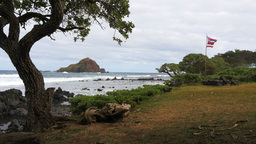 koki beach maui with hawaiian flag Footage