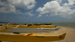 yellow outrigger canoes Footage