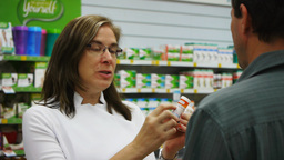 pharmacist counselling customer Footage