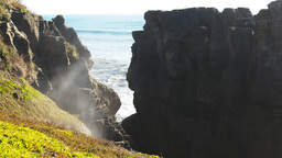 Punakaiki Blow Hole stock footage