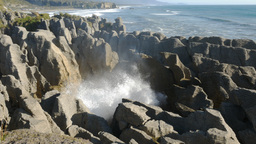 Punakaiki Pancake Rocks Blowhole stock footage