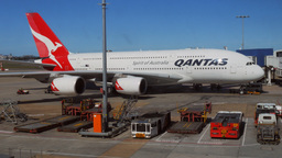 Qantas A380 at gate Footage