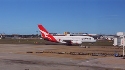 qantas a380-2 taxiing for takeoff Footage