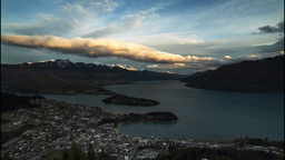 Queenstown From Skyline Panning Timelapse stock footage