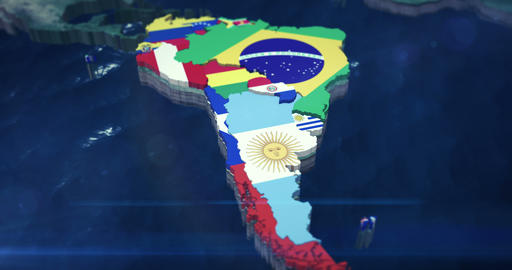 4K Zoom of South America with Country Flags Animation