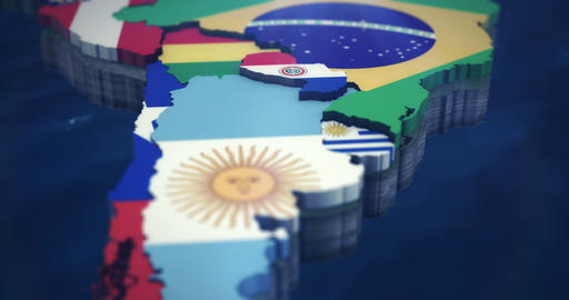 4K South America Flag Map 3X 10 second Clips Animation