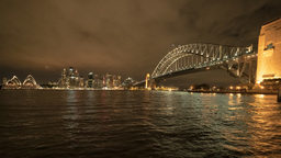 ultra wide angle sydney harbour night time panning time lapse Footage