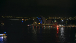 coloured sydney opera house from bridge Footage