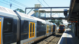 two commuter trains Footage