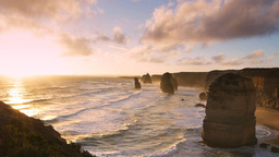 sun setting at the twelve apostles Footage