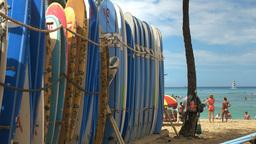 Rental Surfboards At Waikiki Beach stock footage
