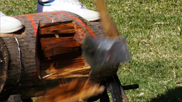 wood chopping Footage