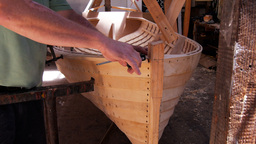 Handmade Huon Pine Dinghy stock footage