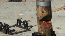 wood chopping Footage