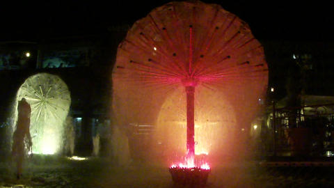 Night fountain in public park Footage