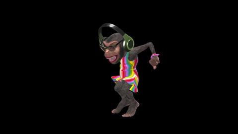 Monkey Dancing in Headphones - Female Chimp - II - VJ Loop - Alpha Animation