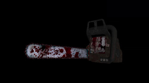 Flying Chainsaw - Bloody Killer - Loop - Alpha - Sound - 4K Animation