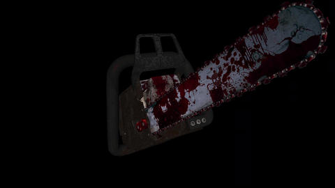 Flying Chainsaw - Bloody Killer - Loop - Alpha - Sound - 4K Stock Video Footage
