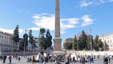 Egyptian obelisk on Piazza del Popolo. Rome, Italy. 4K Footage