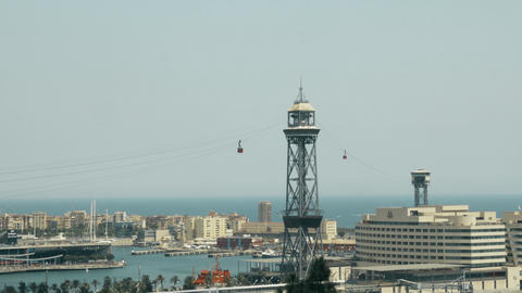 Aerial tramway tower and Port Vell in Barcelona Footage