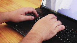 Hands Typing Text On Notebook stock footage