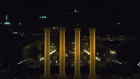 Barcelona Plaza Espana at night with the four columns Footage