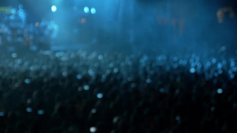 Out Of Focus Crowd In A Concert stock footage