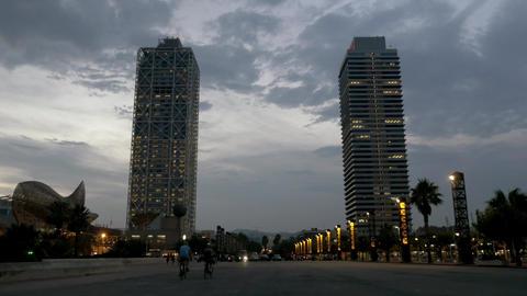 Barcelona skyscrapers near port olimpic marina Live Action