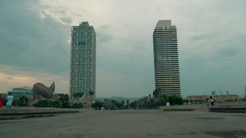 Barcelona Arts Hotel In Port Olimpic At Dusk stock footage