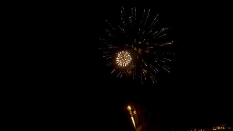 Fireworks in black background in 4k UHD Footage