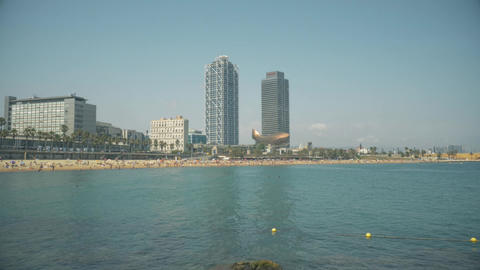 Barceloneta Beach And Twin Towers In Barcelona stock footage