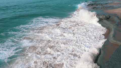 Slow Motion Ocean Waves Breaking On Shore stock footage