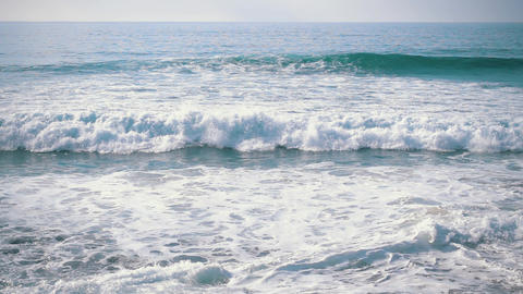 Slow Motion Ocean Waves Incoming on Shore Footage