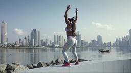 4 Woman Sports Training And Working Out Outdoor At Morning Footage