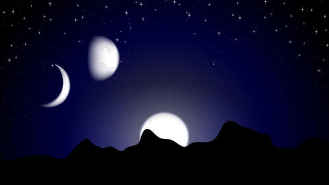 Moon phases on night landscape video animation Animation