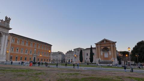 Piazza di San Giovanni in Laterano. Evening. Rome, Italy. 4K Footage