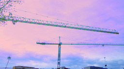 Bucharest, Romania - October 2015 Cranes Working For A New Mall , Tilt stock footage