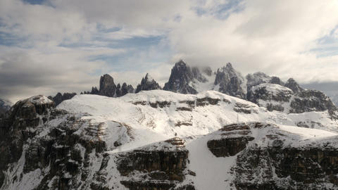 Time Lapse Clouds Over Dolomites Summit Pan 4k 11679 stock footage