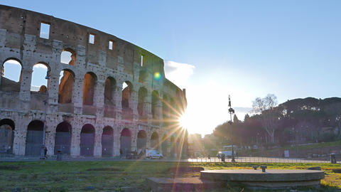 Colosseum, Sunrise.Time Lapse. Rome, Italy. 4K Footage