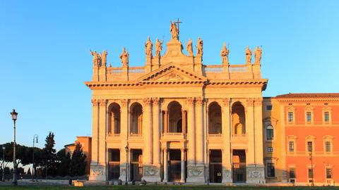 Basilica San Giovanni in Laterano. Sunrise. Rome, Italy. TimeLapse Footage