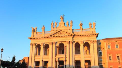 Basilica San Giovanni. Zoom. Sunrise. Rome, Italy. TimeLapse Footage