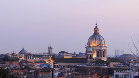 The dome of the Cathedral of Santi Ambrogio e Carlo after sunset. Rome, Italy. 1 Footage