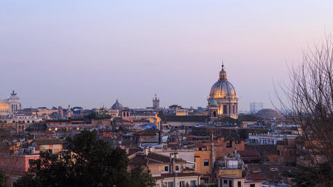 Rome's rooftops, Zoom. after sunset. Italy. Time Lapse. 1280x720 Footage