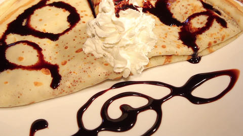Pancakes with Chocolate and whipped cream Footage